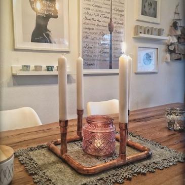 minimalistisches Adventskranz DIY aus Kupferrohr